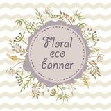 Floral έμβλημα eco με τα σιρίτια Στοκ Φωτογραφία