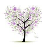 Floral δέντρο αγάπης για το σχέδιό σας, μορφή καρδιών Στοκ Εικόνες