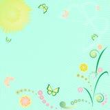 floral ήλιος πεταλούδων ανασκόπησης Απεικόνιση αποθεμάτων