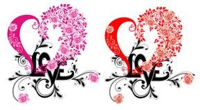 floral αγάπη καρδιών διανυσματική απεικόνιση