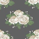 floral αναδρομικός άνευ ραφής προτύπων σκοτεινό λευκό τριαντάφυ επίσης corel σύρετε το διάνυσμα απεικόνισης ελεύθερη απεικόνιση δικαιώματος