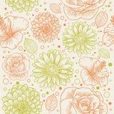 floral αναδρομικός άνευ ραφής προτύπων Στοκ φωτογραφία με δικαίωμα ελεύθερης χρήσης