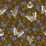 floral αναδρομικός άνευ ραφής π&e Στοκ εικόνα με δικαίωμα ελεύθερης χρήσης