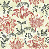 floral αναδρομικό άνευ ραφής διά Στοκ Εικόνες