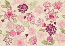 floral αναδρομικό άνευ ραφής διά Στοκ Φωτογραφίες