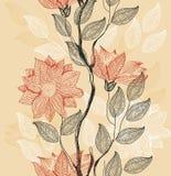 floral αναδρομικό διάνυσμα ανα& Στοκ Εικόνα