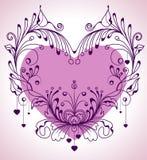 Floral ανασκόπηση βαλεντίνων με την καρδιά διανυσματική απεικόνιση