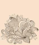Floral ανασκόπηση χρώματος Doodle Στοκ Εικόνες