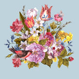 Floral αναδρομική κάρτα άνοιξη στο εκλεκτής ποιότητας ύφος Στοκ φωτογραφία με δικαίωμα ελεύθερης χρήσης
