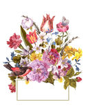 Floral αναδρομική κάρτα άνοιξη στο εκλεκτής ποιότητας ύφος Στοκ Εικόνα
