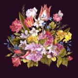 Floral αναδρομική κάρτα άνοιξη στο εκλεκτής ποιότητας ύφος Στοκ εικόνες με δικαίωμα ελεύθερης χρήσης