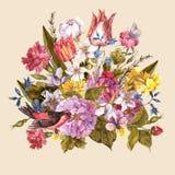 Floral αναδρομική κάρτα άνοιξη στο εκλεκτής ποιότητας ύφος Στοκ Φωτογραφίες