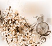 Floral αναδρομικό υπόβαθρο με τα λουλούδια, το ποδήλατο και το τριπλό clef Στοκ Φωτογραφία