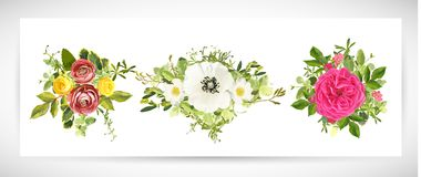 Floral ανθοδέσμη σχεδίου προτύπων επίσης corel σύρετε το διάνυσμα απεικόνισης Στοκ Φωτογραφία