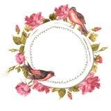 Floral ανθοδέσμη με τα τριαντάφυλλα και το πουλί, εκλεκτής ποιότητας κάρτα Στοκ φωτογραφίες με δικαίωμα ελεύθερης χρήσης