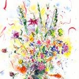 Floral απεικόνιση Watercolor Φωτεινά χρωματισμένα χέρι λουλούδια Ανθοδέσμη θερινών άγρια λουλουδιών ελεύθερη απεικόνιση δικαιώματος