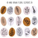 Floral απλή γραφική συλλογή διανυσματική απεικόνιση