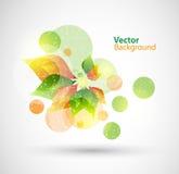 Floral αφηρημένο διανυσματικό υπόβαθρο φύσης με τα πράσινα και πορτοκαλιά φύλλα Στοκ Φωτογραφίες