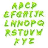 Floral αλφάβητο στο πράσινο υπόβαθρο, διανυσματικό ελατήριο σχήματος Στοκ εικόνες με δικαίωμα ελεύθερης χρήσης