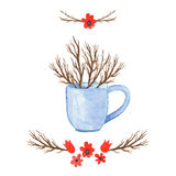 Floral βάζο υποβάθρου Watercolor Συρμένο χέρι watercolor Στοκ φωτογραφίες με δικαίωμα ελεύθερης χρήσης