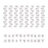 Floral βούρτσες και φύλλα poligonal καθορισμένες Στοκ εικόνες με δικαίωμα ελεύθερης χρήσης