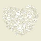 floral γάμος καρδιών καρτών Στοκ Εικόνες