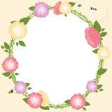 Floral γαμήλια κάρτα στεφανιών λουλουδιών πλαισίων καθορισμένη αναδρομική Στοκ Εικόνες