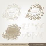 Floral γαμήλια σχέδιο και στοιχεία στοκ εικόνες με δικαίωμα ελεύθερης χρήσης
