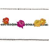Floral γραμμή Doodle με τα ζωηρόχρωμα τριαντάφυλλα Στοιχεία σχεδίου λουλουδιών, floral σύνορα επίσης corel σύρετε το διάνυσμα απε Στοκ εικόνα με δικαίωμα ελεύθερης χρήσης
