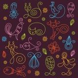 floral γραμμικός στοιχείων σχ&epsilo Απεικόνιση αποθεμάτων