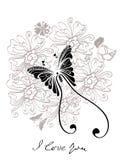 Floral γραπτή ανασκόπηση βαλεντίνων διανυσματική απεικόνιση