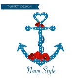 Floral γραφικό σχέδιο υποβάθρου μπλουζών ναυτικών Διανυσματική απεικόνιση
