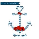 Floral γραφικό σχέδιο υποβάθρου μπλουζών ναυτικών Απεικόνιση αποθεμάτων