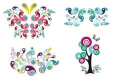floral δέντρο προτύπων πεταλούδων ελεύθερη απεικόνιση δικαιώματος