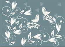 floral διάνυσμα πουλιών ανασκό&p Στοκ φωτογραφία με δικαίωμα ελεύθερης χρήσης