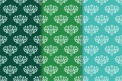 floral διακοσμήσεις που τίθενται Πράσινο σύνολο κάθετων άνευ ραφής σχεδίων Στοκ Φωτογραφία