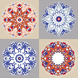 floral διακοσμητικός κύκλος προτύπων Σύνολο ζωηρόχρωμης διακόσμησης τέσσερα Στοκ Εικόνες