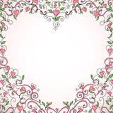 floral διαμορφωμένο απεικόνιση διάνυσμα καρδιών πλαισίων Στοκ εικόνα με δικαίωμα ελεύθερης χρήσης