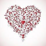 floral διαμορφωμένο διακόσμηση διάνυσμα απεικόνισης καρδιών απεικόνιση αποθεμάτων
