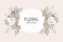 Floral διανυσματικό πλαίσιο σχεδίου Γραμμικά τριαντάφυλλα, ευκάλυπτος, μούρα, άσπρη σκιαγραφία φύλλων witn Γαμήλια κάρτα στο ροζ  ελεύθερη απεικόνιση δικαιώματος