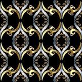 Floral εκλεκτής ποιότητας ασιατικό τρισδιάστατο άνευ ραφής σχέδιο ύφους Ο διανυσματικός Μαύρος Στοκ Φωτογραφία