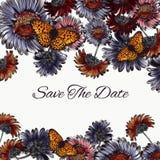 Floral εκτός από την κάρτα ημερομηνίας με τα λουλούδια και τις πεταλούδες μαργαριτών Στοκ φωτογραφία με δικαίωμα ελεύθερης χρήσης