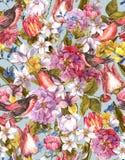 Floral εκλεκτής ποιότητας άνευ ραφής υπόβαθρο με το πουλί Στοκ Εικόνες