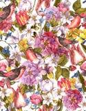 Floral εκλεκτής ποιότητας άνευ ραφής υπόβαθρο με το πουλί Στοκ Εικόνα