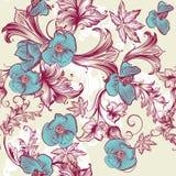 Floral εκλεκτής ποιότητας σχέδιο με τα λουλούδια Στοκ φωτογραφία με δικαίωμα ελεύθερης χρήσης