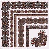Floral εκλεκτής ποιότητας σχέδιο πλαισίων πολικό καθορισμένο διάνυσμα καρδιών κινούμενων σχεδίων όλο Στοκ Εικόνα