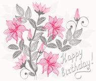 floral ευτυχές διάνυσμα καρτών  Στοκ Εικόνες