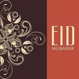 Floral ευχετήρια κάρτα για το ισλαμικό φεστιβάλ, εορτασμός Eid διανυσματική απεικόνιση