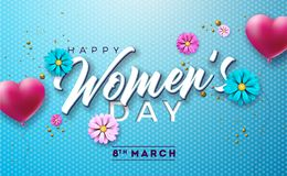 Floral ευχετήρια κάρτα ημέρας των ευτυχών γυναικών Διεθνής απεικόνιση διακοπών με το μπαλόνι αέρα λουλουδιών και καρδιών στο μπλε διανυσματική απεικόνιση