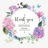 Floral ευχετήρια κάρτα με την άνθιση Hydrangea και τα λουλούδια κήπων απεικόνιση αποθεμάτων